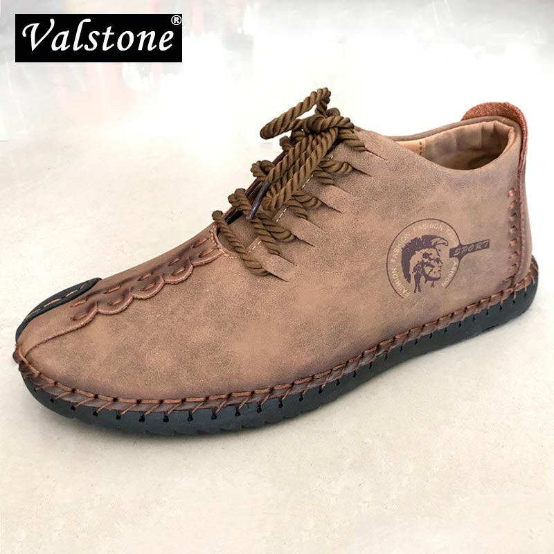 Valstone Men's Vintage Boots Leather Sneakers Spring Summer Shoes Handtailor Outdoor Footwear Casual High-tops Plus Size 38-48
