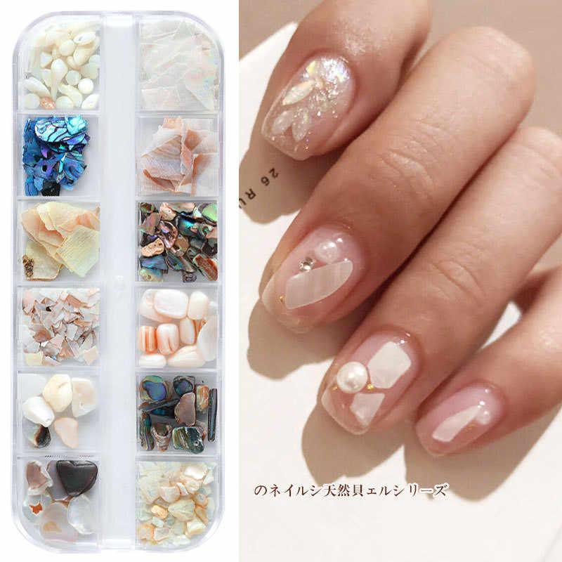 12 mezcla 3D abulón Shell Irregular piedra decoración de uñas Set UV Gel escamas Slider uñas brillo perla manicura polaco herramientas