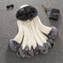 Savabien 6XL Winter Women A Line White Furry Faux Mink Fur Coat Hooded Elegant Long Sleeve Fur Coats Plus Size Luxury Streetwear