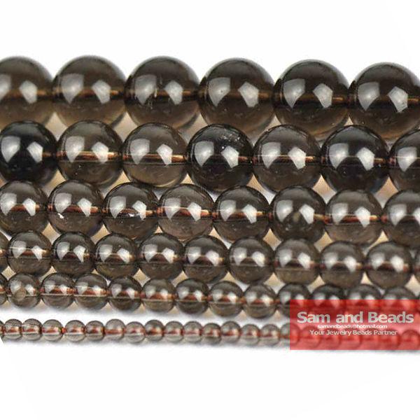 Бесплатная доставка, бусины из натурального камня, гладкий дымчатый черный кварц, 16 дюймов, нитка 6/8/10/12 мм, размер на выбор SQB01