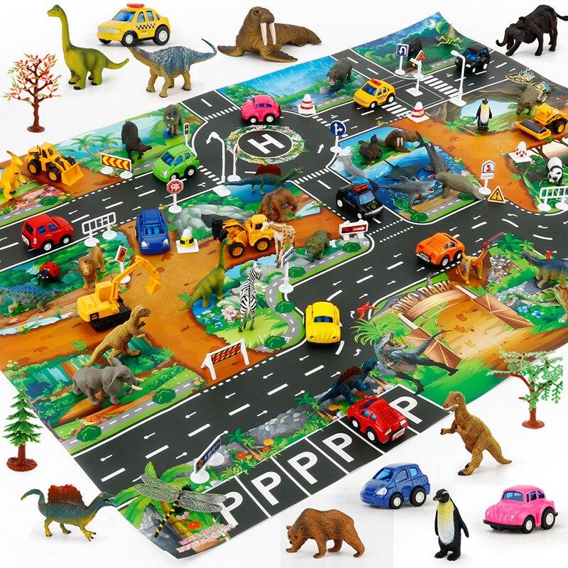 Kids Dinosaur Map Toys Car Parking Road Map Alloy Toy Model Car Climbing Mats English Version Kids Play Game Map Racing Mat Toys dinosaur world jurassic park scene play mat kids