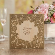 Wedding Party Invitations Card Embossed Flowers with Envelope Marvelous Church Personalized Customized Printing Laser Cut