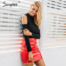 Jumpsuit Romper Simplee Long-Sleeve Cold-Shoulder Zipper Black Sexy Casual Elastic Knitting