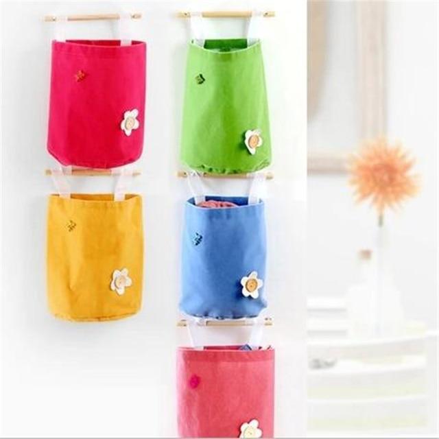 Hot Candy Colored Bag Hanging Storage Pockets Organizador De Bolsa Organizer Flannel