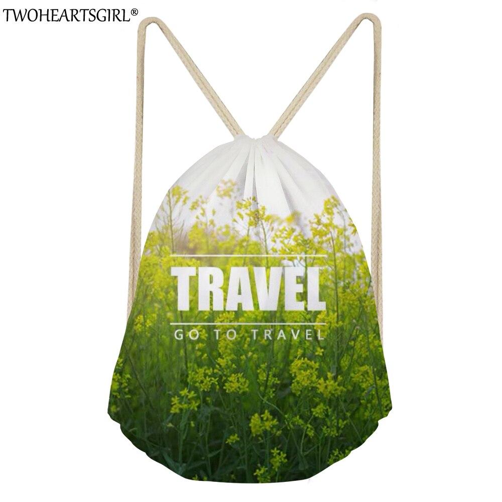 TWOHEARTSGIRL Fresh Style Women Drawstring Bag Small Daily Backpack Shoulder Bagpacks Kids Travel Bags Teens Girls School Pocket