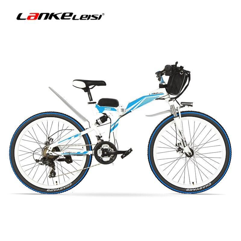 K660D 26/24 pouces grande puissance 500/240 W cadre en acier à haute teneur en carbone vélo électrique pliant, 21 vitesses, 36/48 V, frein à disque, vélo électrique.
