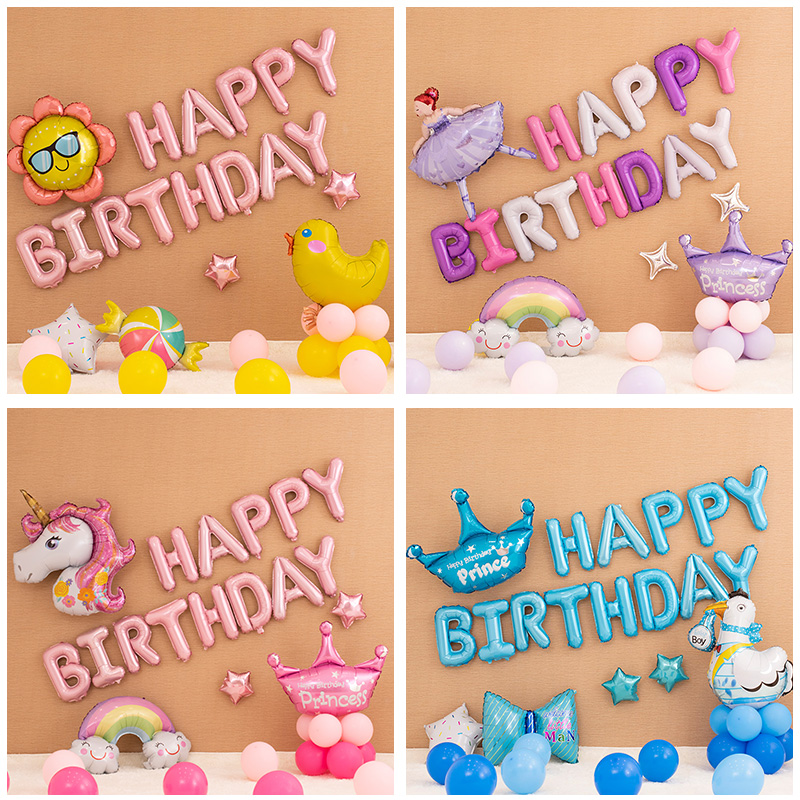 Image 4 - Unicorn Party Balloons Happy Birthday Party Air Ball Package Baby Shower 1st Birthday Decoration Girl Boy Letter Balloon-in Party DIY Decorations from Home & Garden