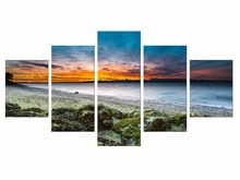 5 Pieces Wall Art Pictures For Living Room Canvas Sunset Beach Sand Ocean Coast Sea Landscape Painting Home Decor Framed
