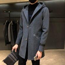 Осень зима мужская шерстяная ветровка прилив тонкий куртка с капюшоном Теплый Тренч длинное одноцветное шерстяное пальто мужской вышивка