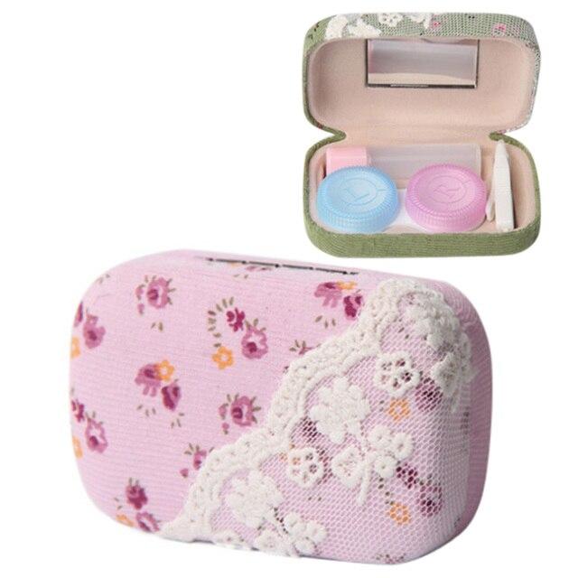 Милый Сладкий Кружева Очки Окне Цветок Линзы Случае Невидимый Контактные Линзы Box Дело Cookie Очки Коробка для Девочек-Розовый