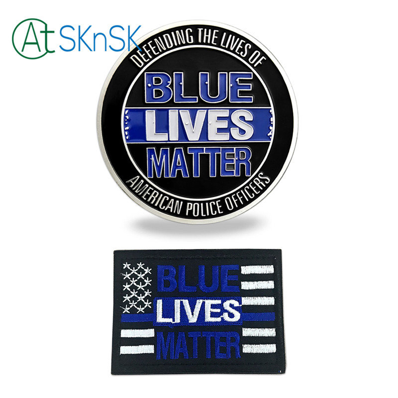 1Set/lot Blue Lives Matter Challenge Coin+Patch American Police Officers In Memory of The Heroes Who Made the Ultimate Sacrifice