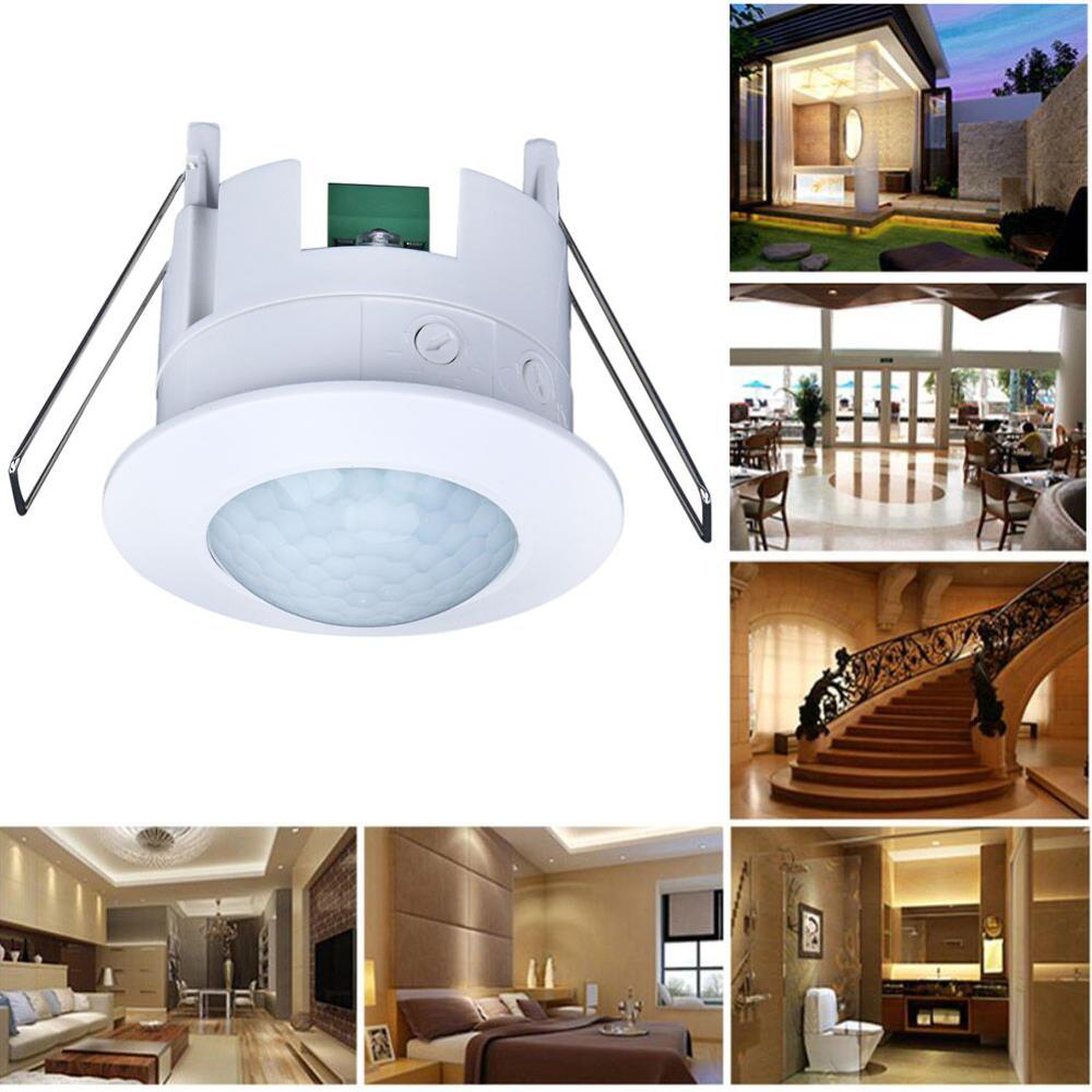 110-240V Infrared PIR Motion Sensor Switch Adjustable Ceiling Body Detector Lamp for