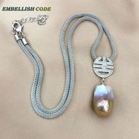 purple gold rare color Chinese characters shape baroque pendant necklace fire ball pearls Durable adjust snake chain 925 silver