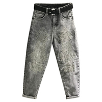 new fashion heavy embroidered gray high waist jeans women loose ankle length harem jeans