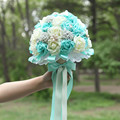new tiffany blue wedding bouquets pe rose tiffany blue and white bridal bouquet beaded brooch pearl and bowknot 22cm diameter