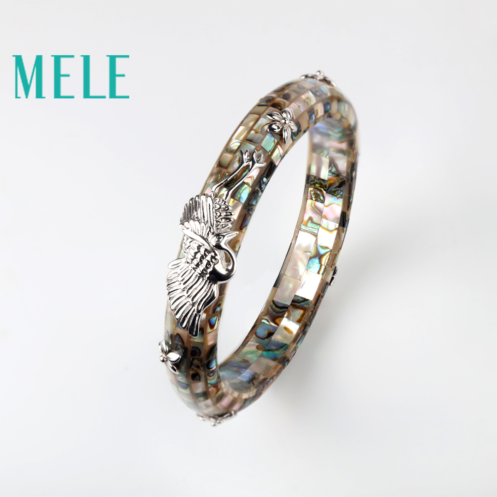 MELE Fashion trends style deep sea shell bracelet for women and man,Split the shells and 925 sterling silver handmade jewelry the devil and the deep blue sea