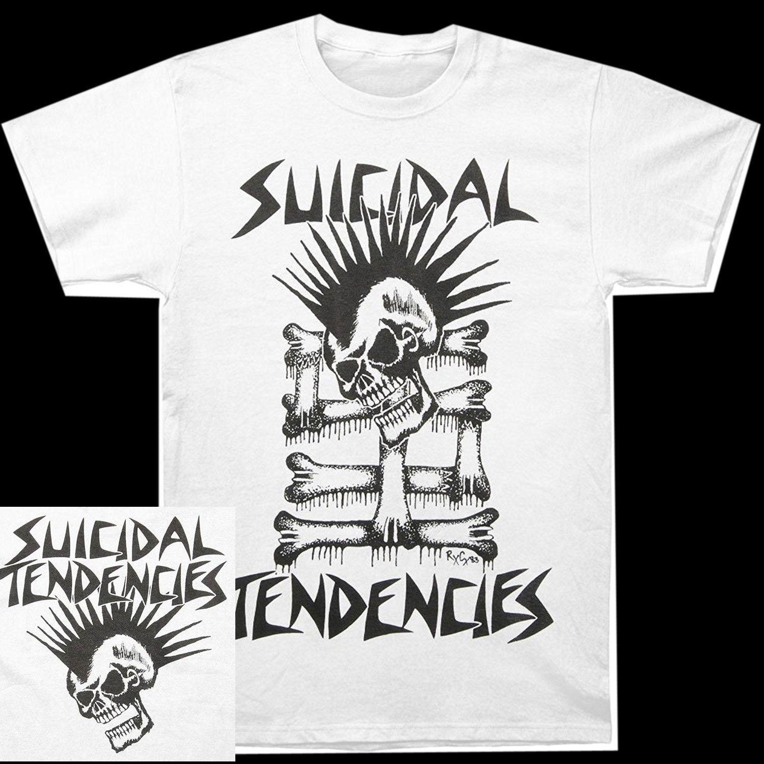 Selbstmord Trends Mohawk Schädel Weiß <font><b>Shirt</b></font> S <font><b>M</b></font> L XL XXL 3xl <font><b>T</b></font>-<font><b>shirt</b></font> Officil <font><b>T</b></font>-<font><b>Shirt</b></font> image
