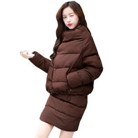 Winter Women Puls Size Loose Fashion Feather Cotton Suit 2017 New Thick Cotton Jacket Cotton Skirt