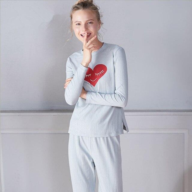 Sweet winter women's pajama sets grey color with cute smile heart elegant autumn pajamas causal brief pyjamas for ladies