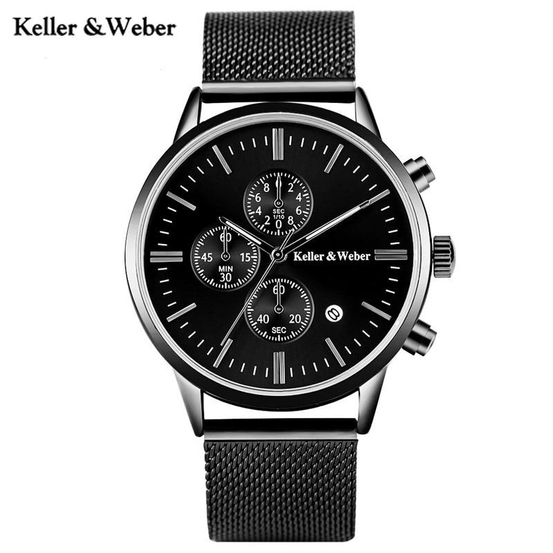 Keller & Weber New Arrival KW Mens Quartz Watches Mesh Stainless Steel Watchband Chronograph Date Sport Outdoor Watch for Male dk readers l3 helen keller