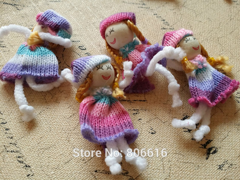 50Pcs 70mm Colorful Girl Wool & Wood Children Party Decoration Cloth Paste Jewelry Charms DIY Jewelry Accessories image