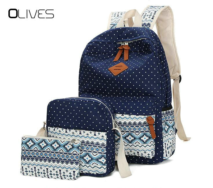 Fashion Dot Printing Women Backpacks High Quality Canvas School Backpack Kids School Bags For Girls Mochila Feminina