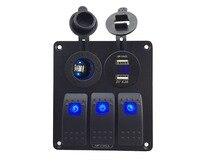 DC12V 24V Power Socket Double USB 4 2A Power Outlet Charger Voltmeter Socket Waterproof 3