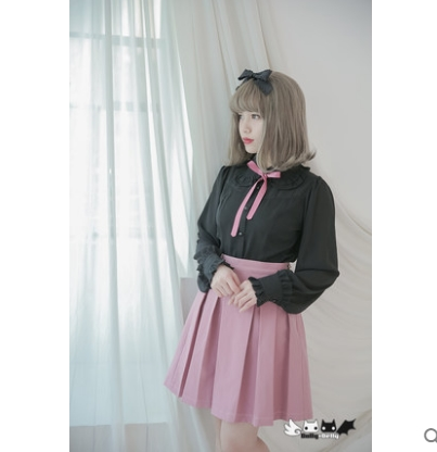 Dolley Simple Sweet La Conception Lolita Solide rose Noir Sont Filles 00105 Princesse Plissée Jeunes Et Dollydelly Jupe Originale Animé RZpxq