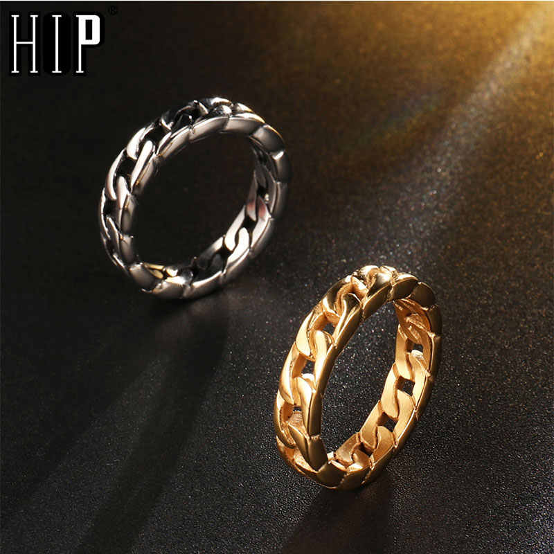 HIP Hop kubański łańcuszek pierścionek złoty kolor obrączki ze stali nierdzewnej dla mężczyzn biżuteria usa rozmiar 8-12 Dropshipping