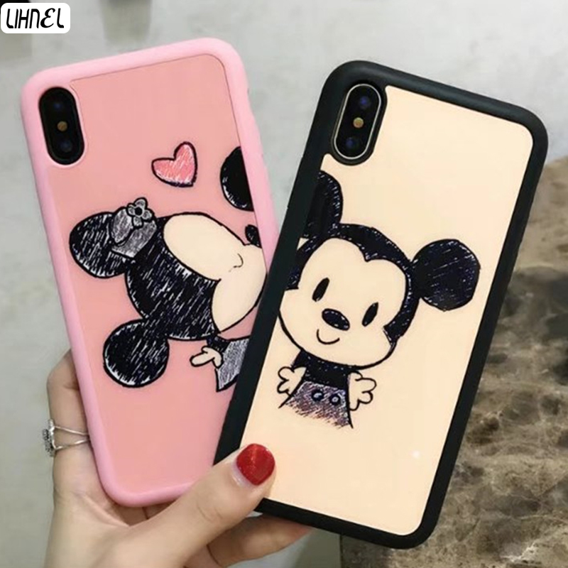 LIHNEL Cute Mickey Minnie Mouse Couple Cartoon Pink Soft TPU Case Cover for iPhone X 7 7 ...