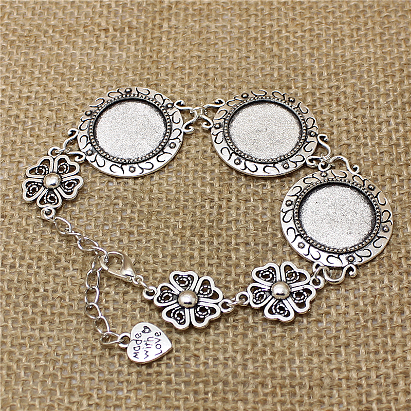 3Pcs 23.5mm Fit 18mm DIA Vintage Silver Metal Zinc Alloy Round Bracelet Cabochon Setting Jewelry Blank Setting Bracelet Findings