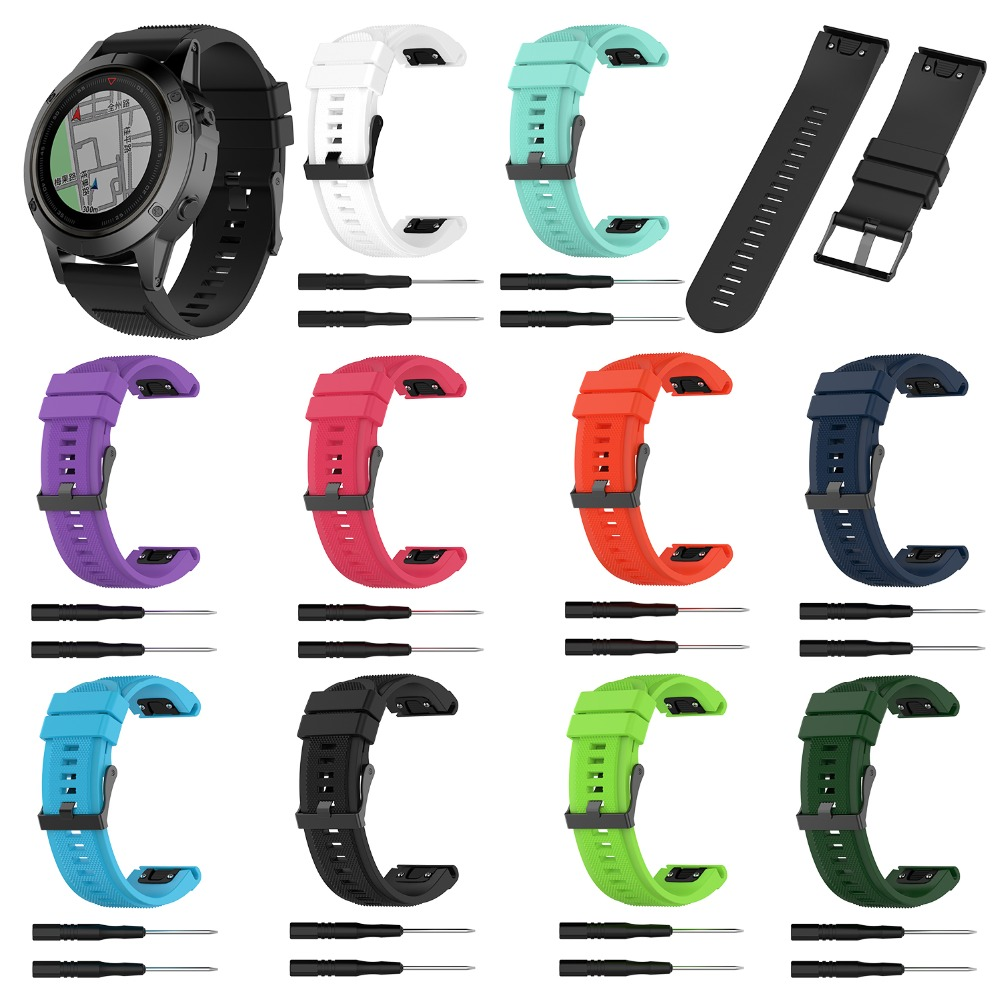 Silicone Watch Band Wrist Strap For Garmin FenixFenix5XFenix5X PulsFenix3Fenix3 HRD2 BravoQuaitx3Tactix BravoDescent Mk1