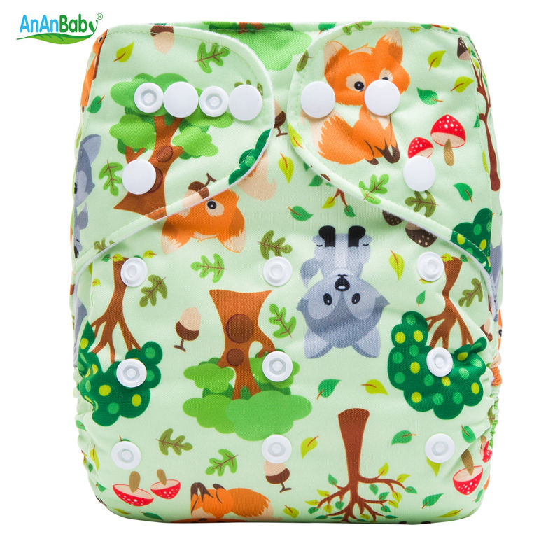 Ananbaby Washable Diapers Couches Lavables Baby Diaper Cover Wrap Cartoon Print Nappy Changing Reusable Baby Cloth Diapers HA033