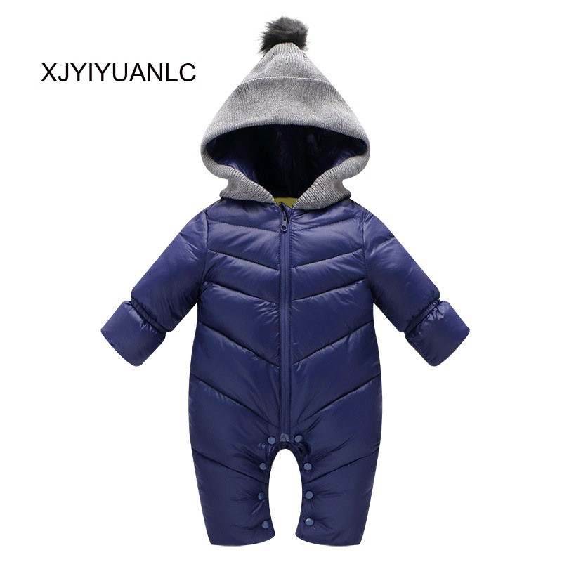 New Baby Rompers Down Cotton Thick Warm Infant Baby Winter Clothes Newborn Baby Boy Girl Romper Jumpsuit Hooded Kid Outerwear baby rompers 2016 newborn body baby boy girl clothes jumpsuit long sleeve infant onesie product turn down collar romper costumes