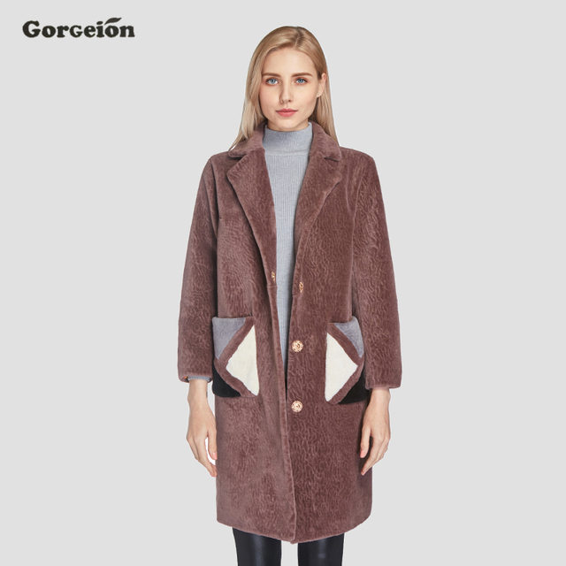 Gorgeion Fashion Fur Coat Flocking Winter Nine Quarter Sleeve Long Coat Jacket Plus Size Faux Fur Women Outerwear DP-02