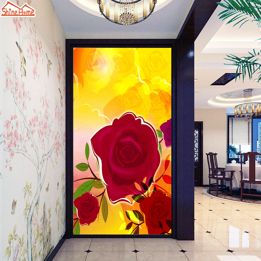 ShineHome Red Rose Golden Wallpaper Mural for 3d Rooms Walls ...