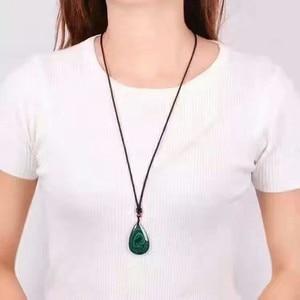 Image 4 - QIANXU Malachite Necklace Pendant  Water Drop Jade Pendant Jade Jewelry Fine Jewelry