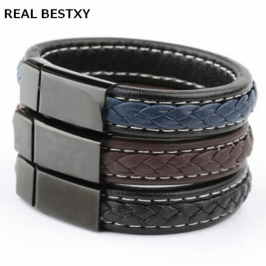 REAL BESTXY Custom Logo Black Brown Handmade Leather Bracelet Braided Rope Bead Charm Wristband with Stainless Steel Magnetic C