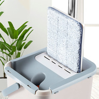 Mop Bucket System for Floor Cleaning 2 in 1 Wash Dry with Washable Flat Fiber Mop Pads GHS99