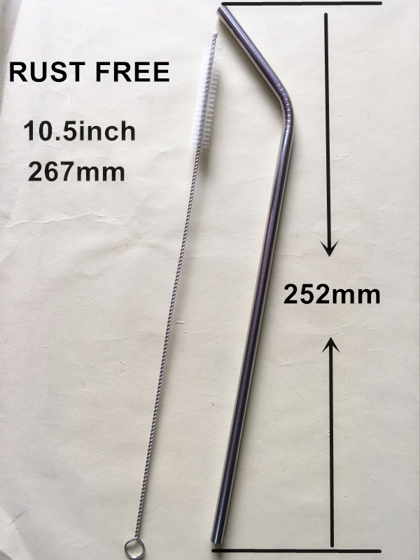 Free shipping rust free stainless steel 304 bent drinking straws and brush 50 sets/lot length 6x267mm length 10.5inch bent