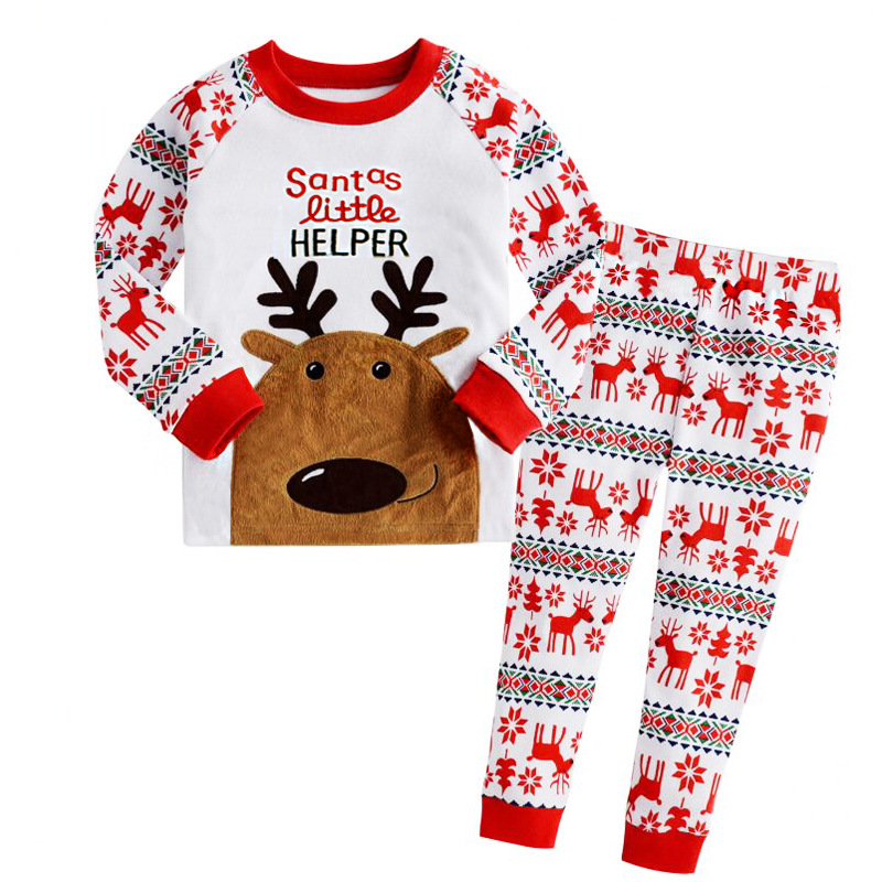 2Piece/2-7Years/Children Christmas Pajamas Baby Boys Girls Clothing Set Cartoon Cute Deer T-shirt+Pants Kids Clothes Suit BC1078 set of clothes children girls boys baby clothing milk print 3pcs suit toddler kids christmas pajamas sleepwear top 2017 new