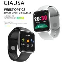 купить GIAUSA Smart Band Heart Rate Monitor Fitness Bracelet Blood Pressure IP68 Waterproof 9.9mm Thickness Watches Pk Fitbits miband 3 по цене 5731.55 рублей