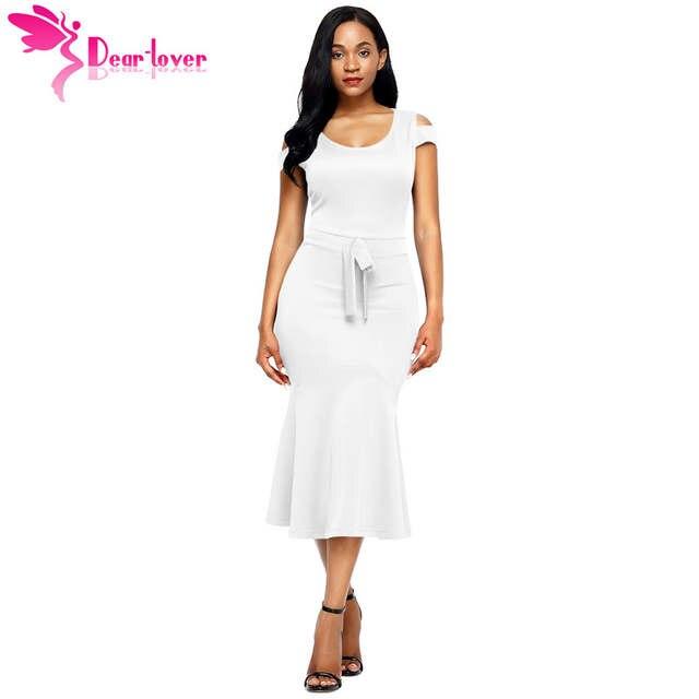 1dc2e49a6a8d placeholder Dear Lover Dresses Women Work Wear Royal Blue Cold Shoulder Bow  Detail Short Sleeve Mermaid Dress