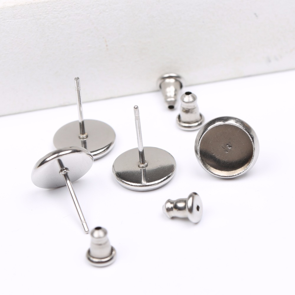 Onwear 40pcs 8mm 10mm 12mm 14mm Cabochon Earring Blanks Stainless Steel Stud Earrings Setting Tray Diy Findings For Jewelry