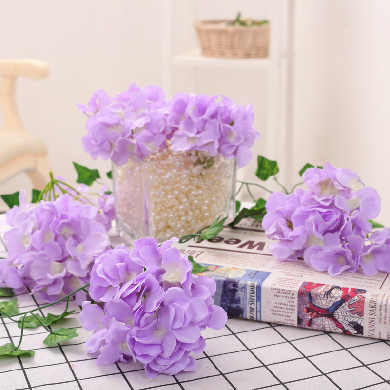 LOT 100PCS 13 15cm Hydrangea Flower Head 27 Forks Home Decorative Silk Flowers DIY Wreath Wedding Wall Road Lead Arch Flowers-in Artificial & Dried Flowers from Home & Garden    1