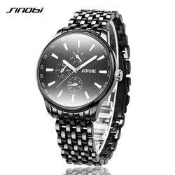 SINOBI Quartz Watch Men Black Mens Watches Top Brand Luxury Full Steel Waterproof Wrist Watch Clock Male Relogio Masculino 2017