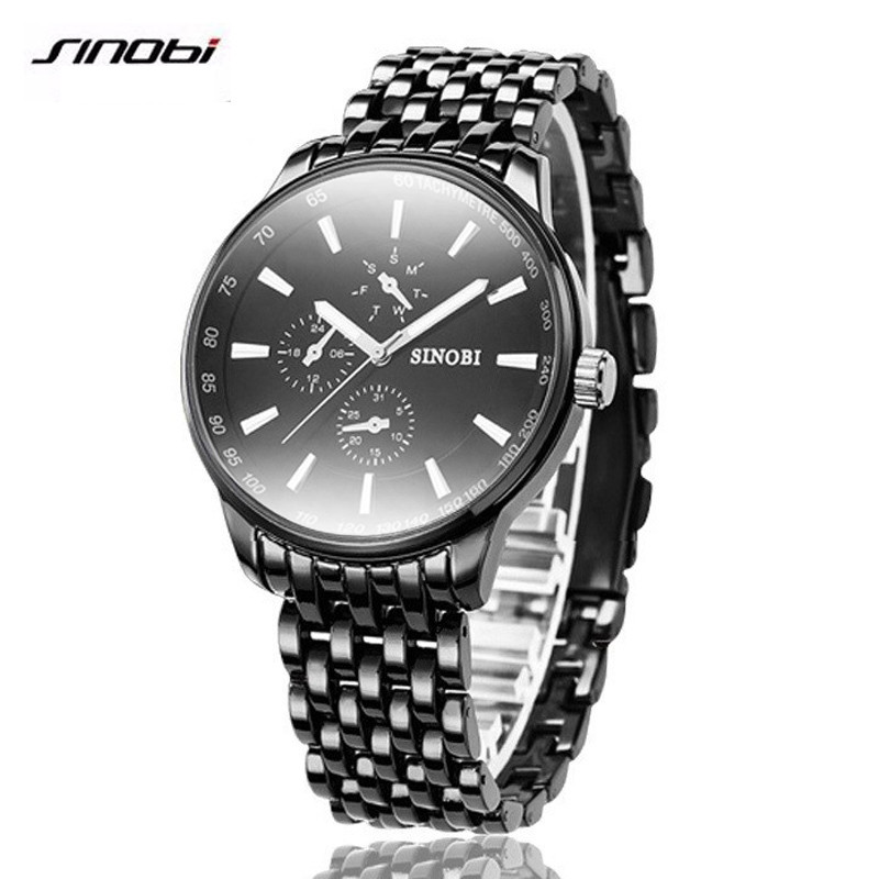 SINOBI Quartz Watch Men Black Mens Watches Top Brand Luxury Full Steel Waterproof Wrist Watch Clock  Male Relogio Masculino 2017 2017 new watches men luxury brand fedylon fashion casual full steel quartz wrist watch waterproof male clock relogio masculino