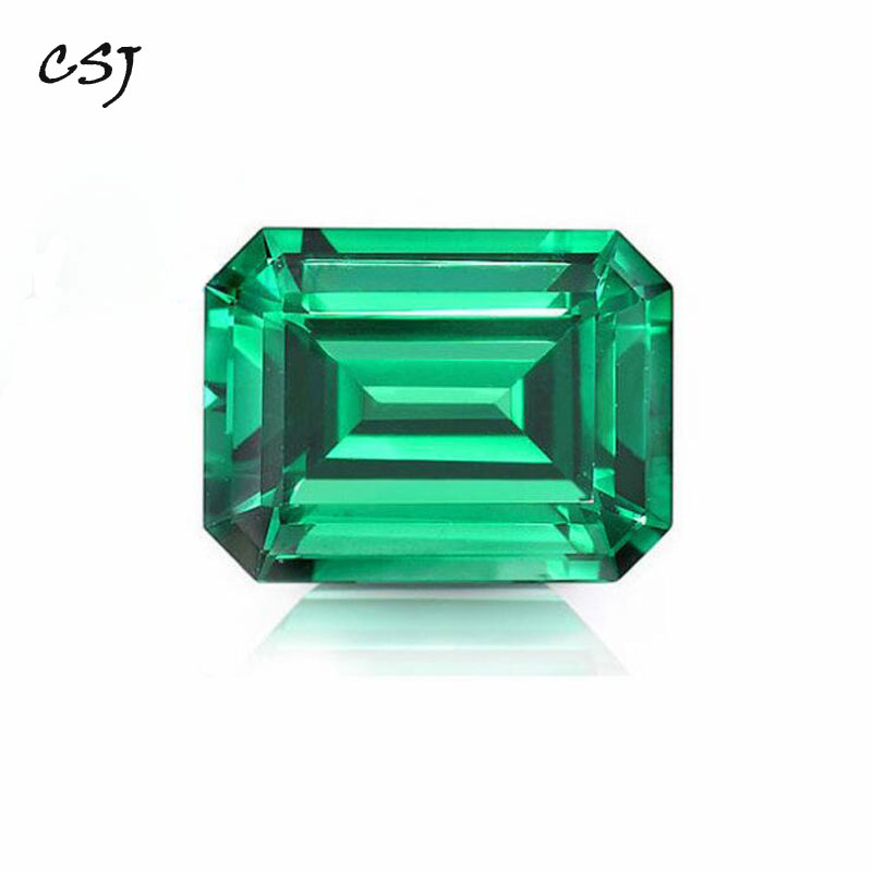 CSJ Created Emerald Loose Gemstone Emerald Cut Nano Emerald For Silver Mounting Rings Diy Jewelry  Fine Cutting