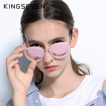 2017 Sunglasses Women Mirror Lens Ladies Luxury Brand Designer Fashion Polarized Sun glasses KINGSEVEN Eyewear Retro With Case