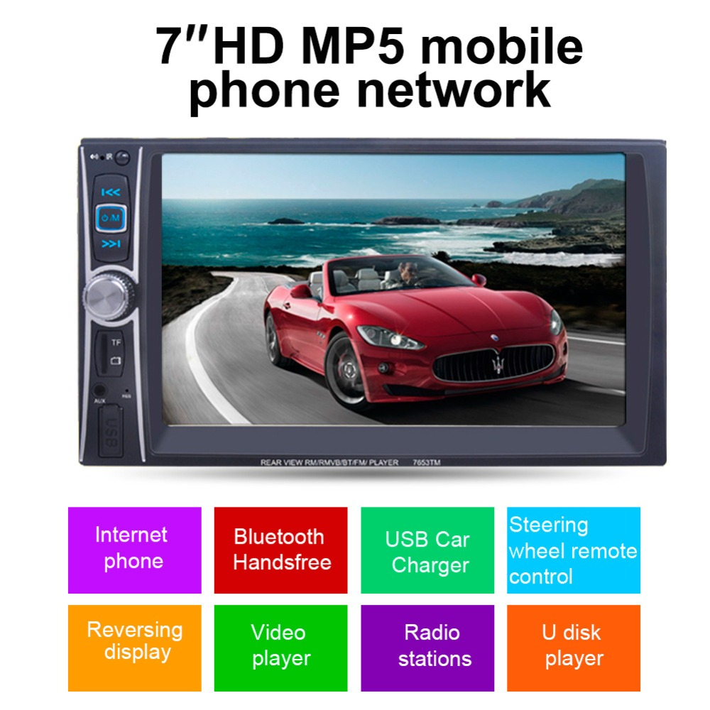 2 Din Car Audio Media Player Touch Screen Bluetooth Mirror Link Smart Phone Video MP5 Player Stereo with Steering Wheel Control